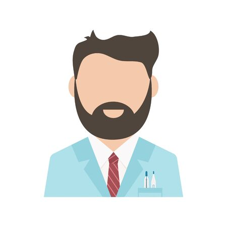 Medical worker, health professional avatar, medical staff, doctor icon isolated on white background. Vector illustration