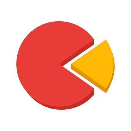 Infografica aziendale, parte dell'intero grafico a torta colorato. Illustrazione vettoriale