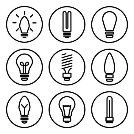 Set of light bulb icons, different lamp, Black round pictogrames, outline design. Vector illustration