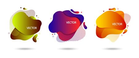Colorful set of modern abstract banner with shadow, speech bubble different shapes, space for your text. Motion amoeba fluid, colored gradient. Vector illustration