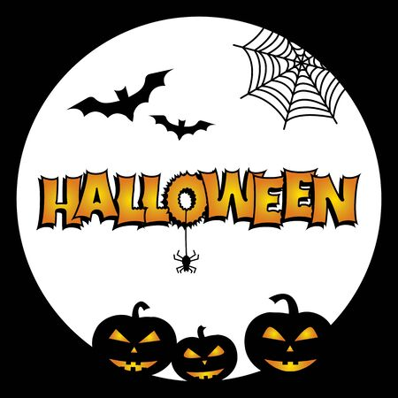 Greeting card for Halloween. Bats, pumpkins, cobweb, spider moon Vector illustration Фото со стока - 130872199