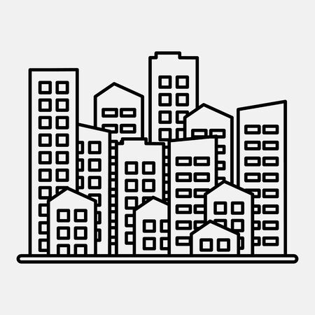 Cityscape. City modern buildings, housing district, town homes. Black outline design on gray background. Vector illustration