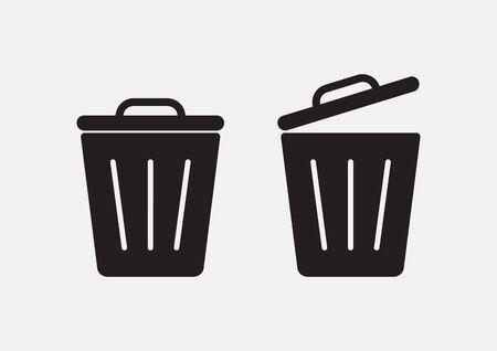 Garbage. Set of trash basket icon. Vector illustration
