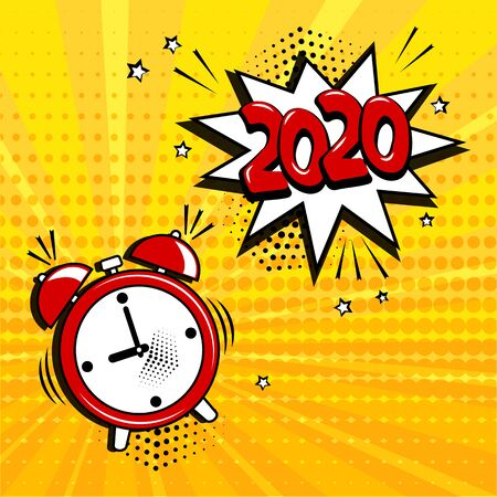 Alarm clock with white comic bubble with 2020 word on yellow background. Comic sound effects in pop art style. Vector illustration Фото со стока - 130872203