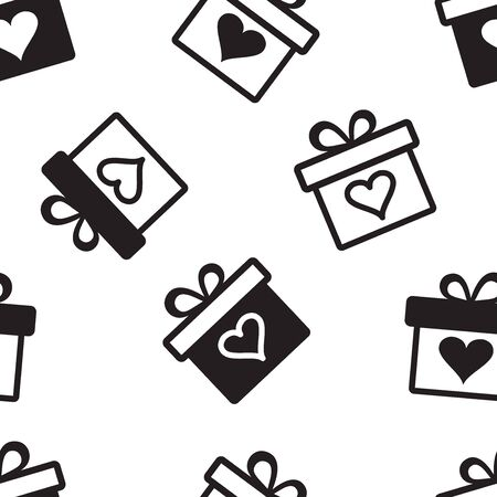 Decorative holiday seamless pattern with black gift boxes with hearts on black background. Vector illustration