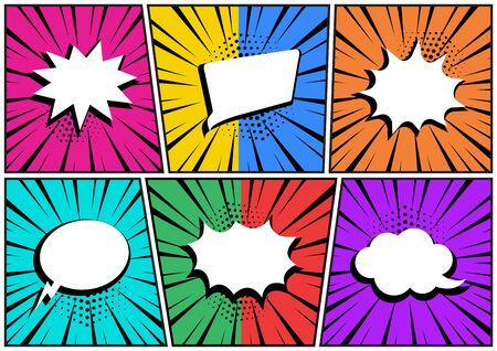 Set in pop art style. White empty comic speech bubbles on colorful background. Vector illustration Иллюстрация