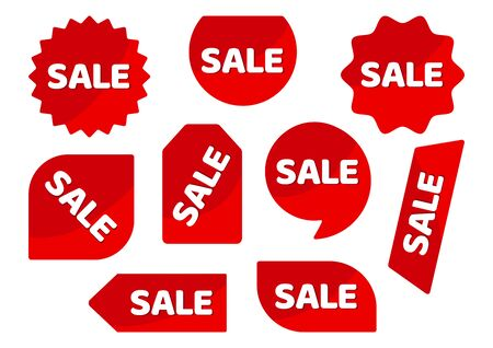 Set of red stickers, advertising badges with white inscription SALE. Vector illustration Фото со стока - 130872206