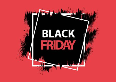 Black Friday. Grunge square banner, red, black and white colors. Brush stroke and square frame. Vector illustration