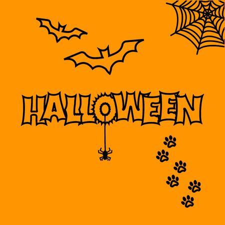 Greeting card for Halloween. Bats, cobweb, spider, cat paw track Vector illustration Иллюстрация