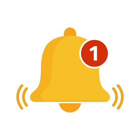 Golden bell icon. Incoming message notification. Vector illustration
