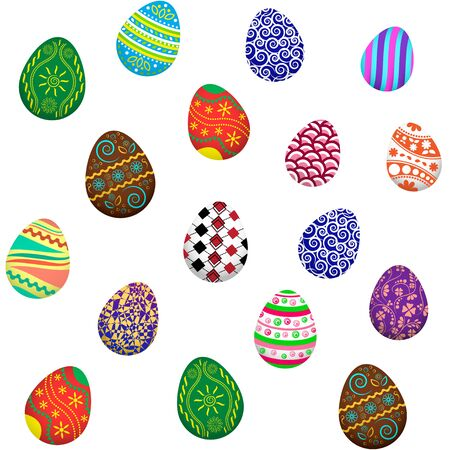 Easter eggs seamless pattern, colored ornaments, vector illustration
