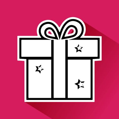Black and white gift box with bow and stars on pink background. Vector illustration