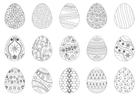 Easter eggs, black and white, vector set