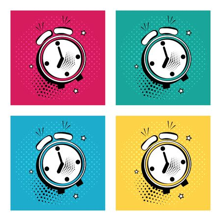 Set of white comic alarm clock with stars on colorful background in pop art style. Vector illustration