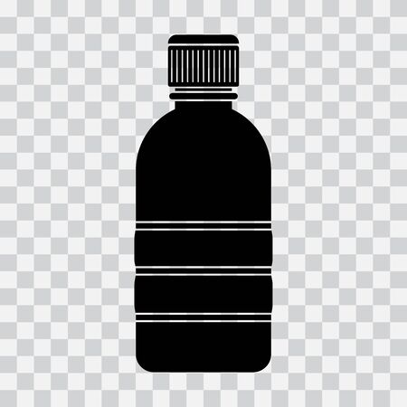 Bottle icon, black silhouette on transparent background. Vector illustration Фото со стока - 130872226