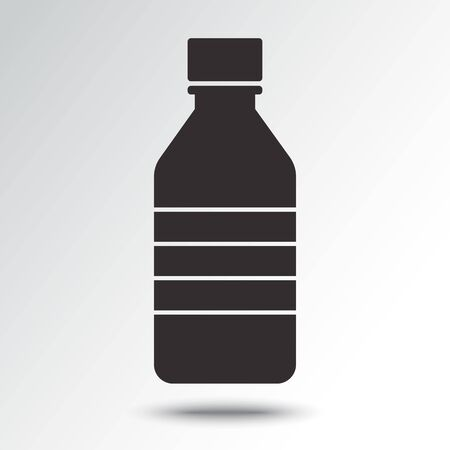Bottle icon, black silhouette with shadow. Vector illustration Ilustração