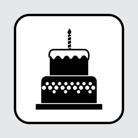 Birthday cake icon with a candle, black and white color. Vector illustration