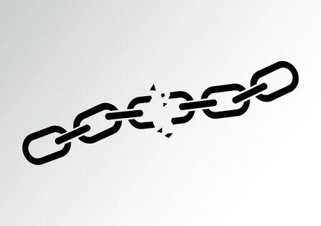Black broken chain on gray background. Vector illustration Иллюстрация