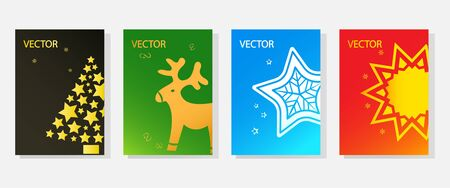 Set of Christmas greeting cards, template colorful holiday banners, space for your text. Vector illustration
