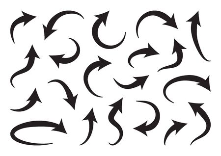 Set of different curve arrows, black collection. Vector illustration Иллюстрация