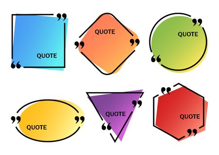 Set of bright colorful quote boxes different shapes, space for your text. Vector illustration