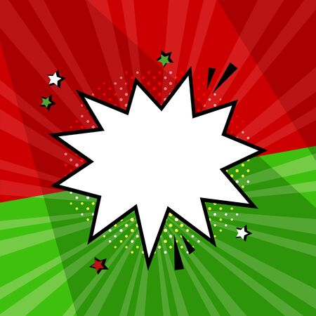 White empty comic speech bubble with stars and halftone dot shadow on red and green background. Comic sound effects in pop art style. Vector illustration Фото со стока - 131761003