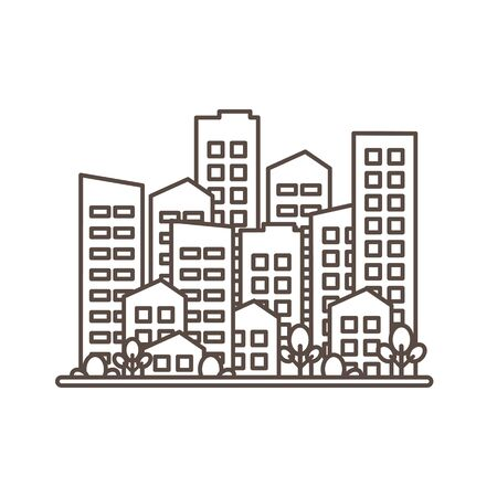 Cityscape. City modern buildings, housing district, town homes. Black outline design isolated on white background. Vector illustration