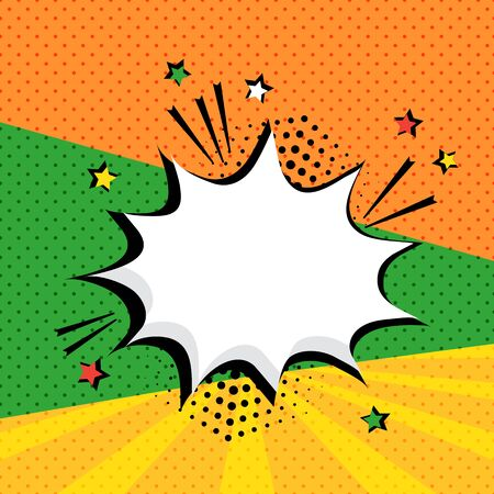 White empty speech bubble with stars and halftone dots shadow on colorful background. Comic sound effects in pop art style. Vector illustration Фото со стока - 131762466