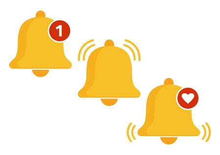 Set of golden bell icons. Incoming message notification. Vector illustration