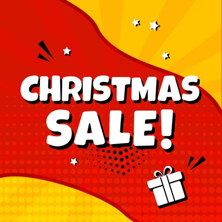 Christmas sale. Holiday banner promotion, discount. Comic sound effects in pop art style. Vector illustration
