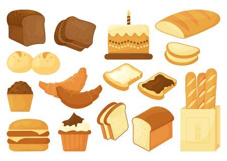 Bakery set, different bread product. Vector illustration Иллюстрация