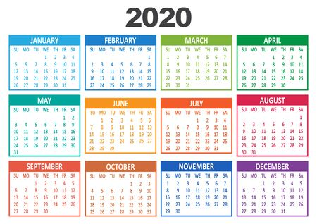 Colorful yearly calendar 2020. Week starts from Sunday. Vector illustration 일러스트