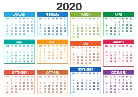 Colorful yearly calendar 2020. Week starts from Monday. Vector illustration