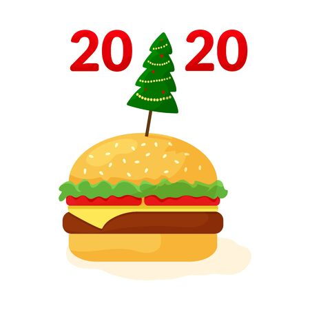 Fast food 2020. Cheeseburger with Christmas tree. Holiday banner for New Year.
