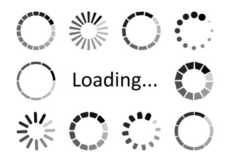 Set of circular loading icons, waiting signs. Progress bar for upload download round process. Vector illustration Иллюстрация