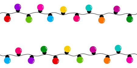 Holiday decorative garland, colorful light bulbs, space for your text. Vector illustration Фото со стока - 133252504