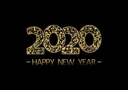 2020. Happy New Year. Holiday golden glitter banner. Vector illustration