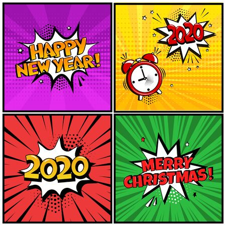 Holiday comic banners for Christmas or New Year, speech bubbles in pop art style. Vector illustration Ilustração