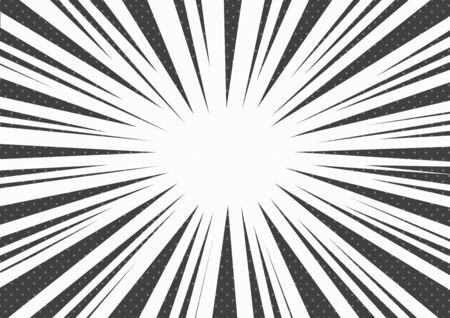Black and white comic pop art abstract background with sunbeams, space for your text. Vector illustration Фото со стока - 133415109