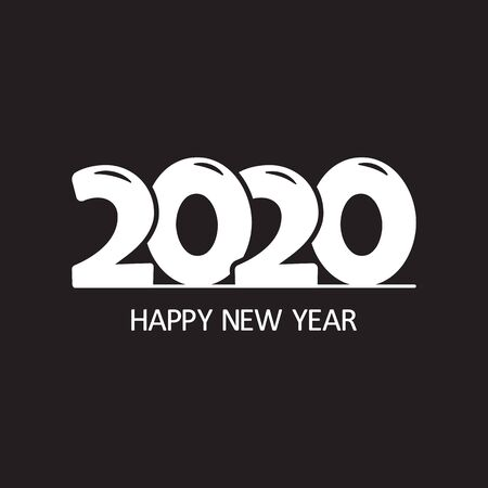 2020. Happy New Year. Black and white holiday businnes banner. Easy edit color. Vector illustration