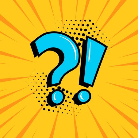 Question mark and exclamation point, blue signs on yellow comic banner in pop art style. Vector illustration