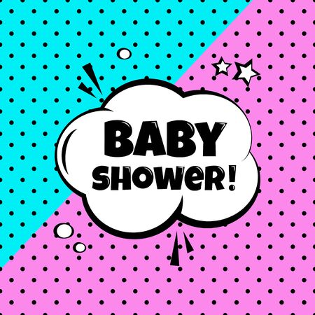 Baby shower. Holiday comic banner in pop art style. Vector illustration