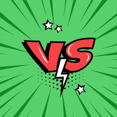 Versus. Comic red VS word with lightning on green background in pop art. Vector illustration
