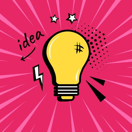 Comic light bulb with speech elements on pink background in pop art style. Vector illustration Иллюстрация