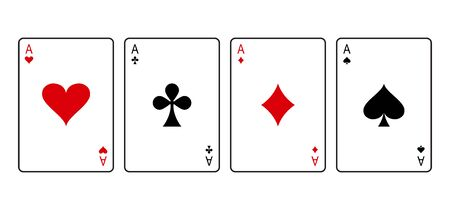 Ace cards. Red and black playing poker card suit: heart, club, diamond and spade. Vector illustration Иллюстрация