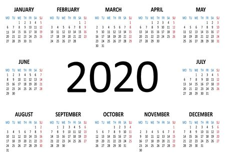 Yearly calendar 2020 template. Week starts from Monday. Vector illustration