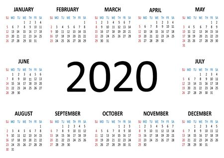 Yearly calendar 2020 template. Week starts from Sunday. Vector illustration