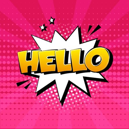 HELLO. White comic speech bubble on pink background. Sound effect, stars and halftone dots shadow in pop art style. Vector illustration Иллюстрация