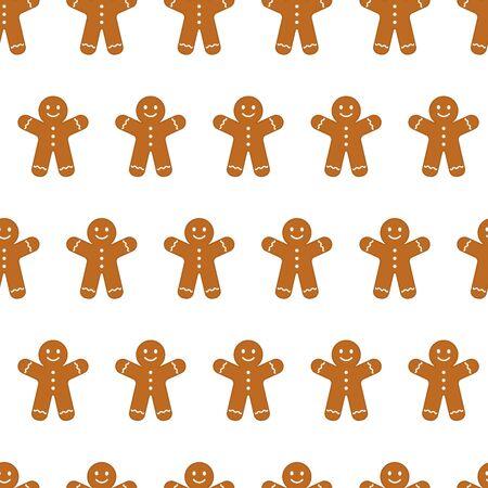 Gingerbread man cookies seamless pattern, Christmas holiday cute background. Vector illustration Иллюстрация