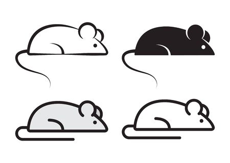 Mouse, outline and flat. Design elements for banners for Chinese New Year. Vector illustration